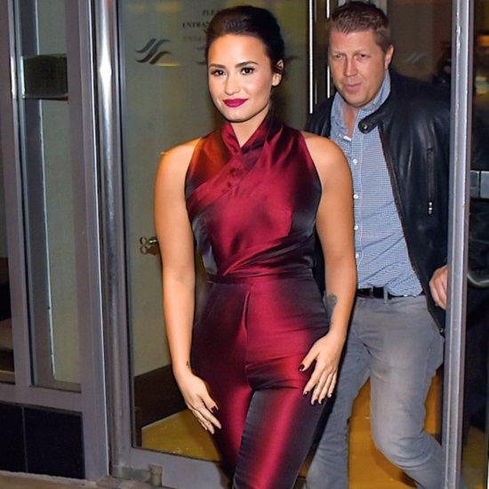Demi Lovato Wears a Red Silk Jumpsuit in NYC