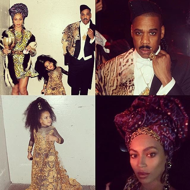 Beyoncé, Jay Z, and Blue Ivy as Queen Aoleon, Prince Akeem, and Imani Izzi From Coming to America