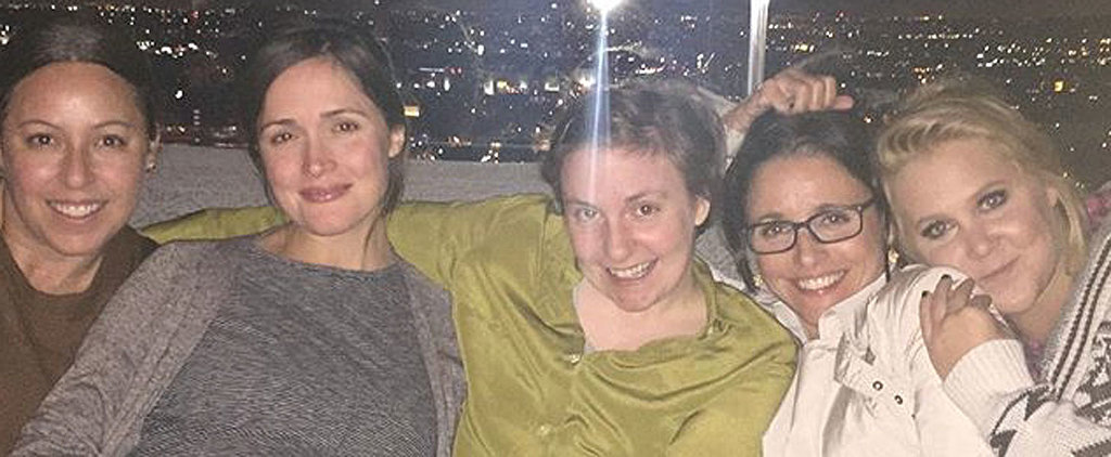 Rose Byrne Shows Off Her Baby Bump While Cuddling With Lena Dunham and Amy Schumer