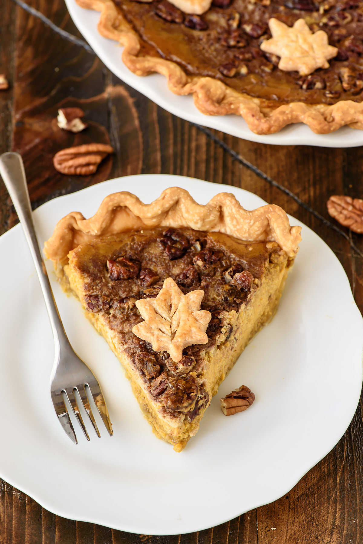 This twist of Thanksgiving's two favorite pies — pumpkin pecan pie ...
