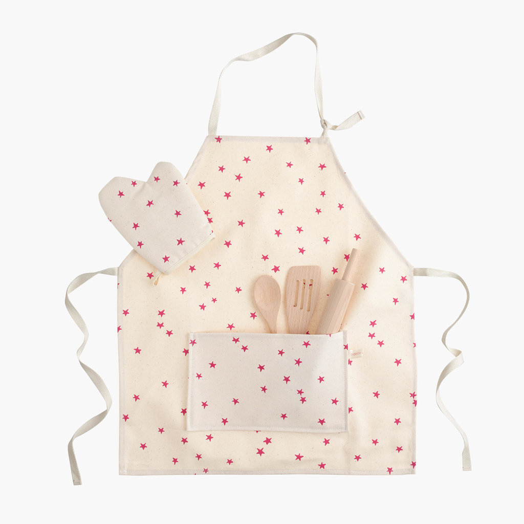 For 6-Year-Olds: Odette Williams Baker's Apron Set in Pink Stars