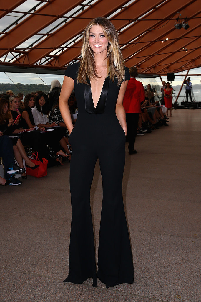 Delta looked sleek and chic in a black jumpsuit at designer Carla Zampatti's 50th anniversary show at the Sydney Opera House in April 2015.