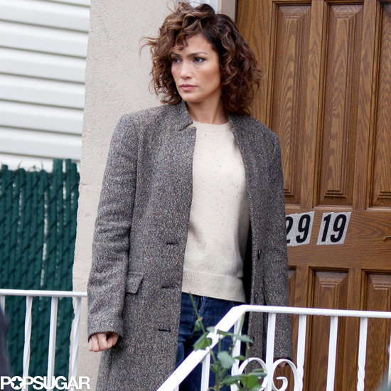 Jennifer Lopez's Gray Coat on Set of Shades of Blue