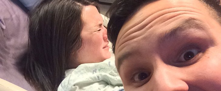 This New Dad's Perfectly Timed Delivery Room Selfie Might Land Him in the Doghouse