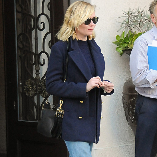 Kirsten Dunst Wearing Jeans and a Coat