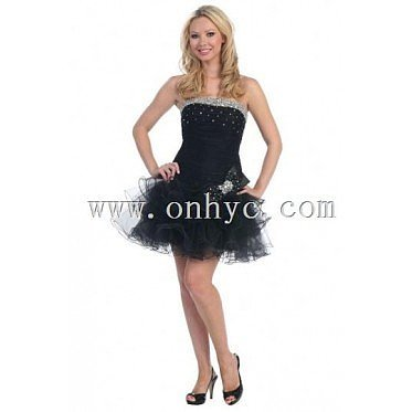 Strapless Backless Organza Beading Short Formal Gown