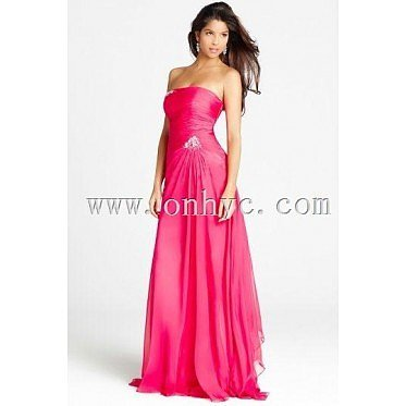Beading  Strapless Chiffon Column Formal/Evening Dress