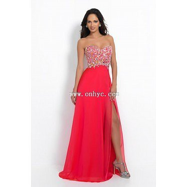 Charming Sweetheart Natural Train Chiffon Red Sleeveless Prom Dress with Split and Crystal