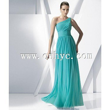 Simple A-Line One Shoulder Floor Length Chiffon Green Sleeveless Evening Dress With Ruched