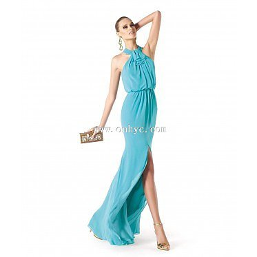 Chic Asymmetrical Halter High-Low Chiffon Blue Party Dress