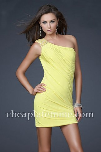 Yellow Short Chiffon La Femme 15887 Beaded One Shoulder Cocktail Dresses [La Femme 15887] - $150.00 : La Femme | La Femme Dresse