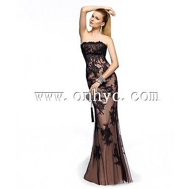 Classic Sheath-Column Strapless Floor Length Black Evening Dress