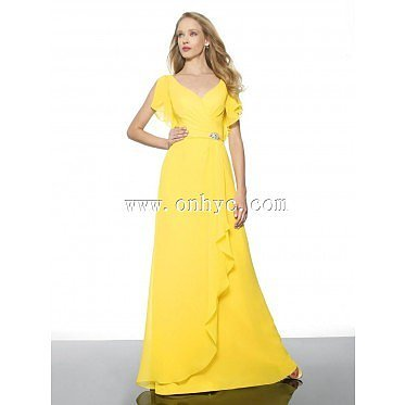 Charming A-Line V-Neck Natural Train Chiffon Yellow Cap Sleeve Open Back Evening Dress with Sashes