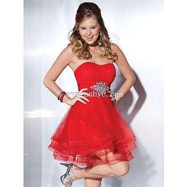 Fancy A-Line Sweetheart Empire Knee Length Organza Red Sleeveless Zipper Party Dress with Sashes and Ruched