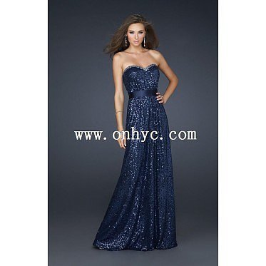 Fantastic A-Line Sweetheart Floor Length Sequin Dark Navy Side Zipper Evening Dress with Sashes and Sequin