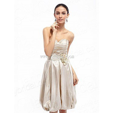 A-Line Sweetheart Knee Length Silver Satin Prom Dres