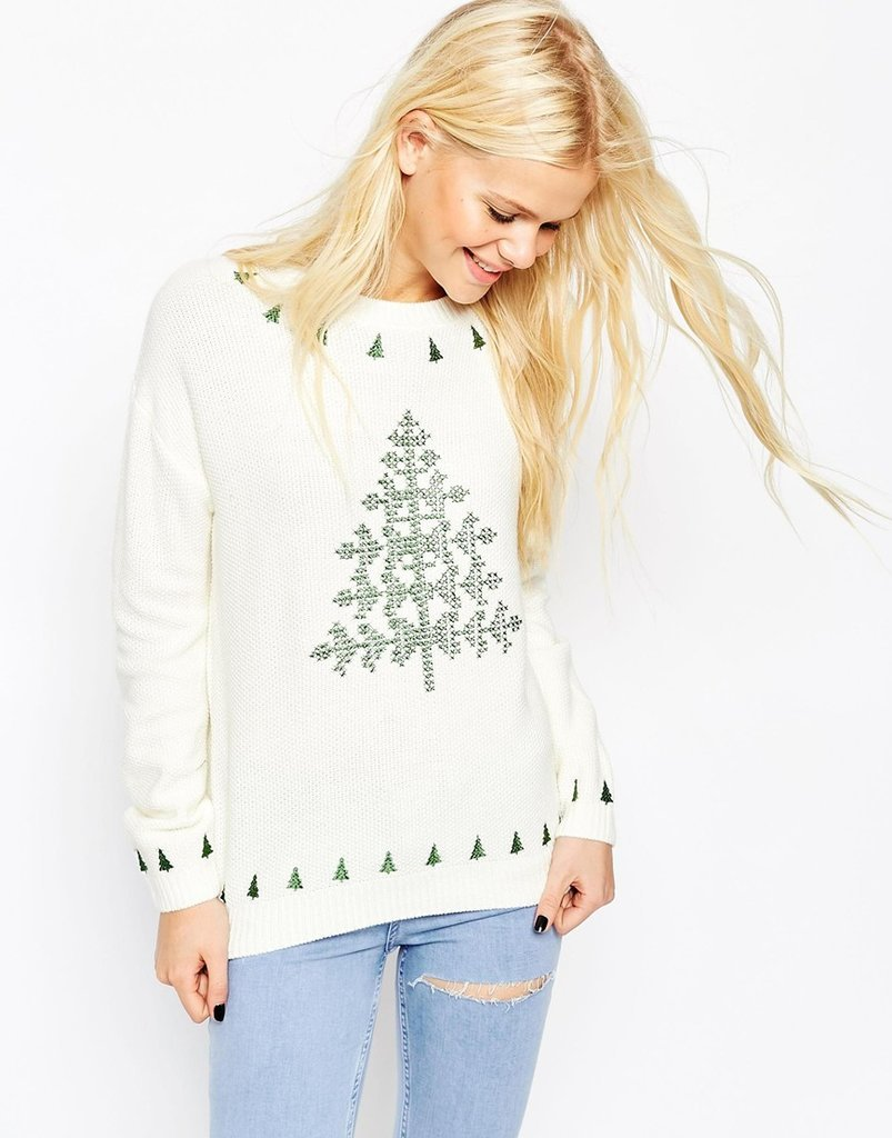 ASOS Embroidered Holidays Tree Sweater ($63)