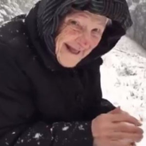 101-Year-Old Woman Playing in the Snow | Video