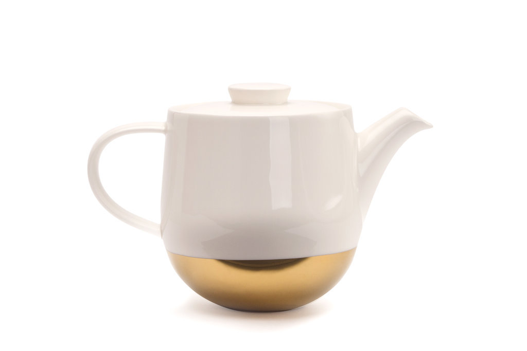 Gold-Dipped White Teapot