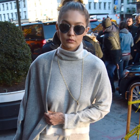 Gigi Hadid Wearing Gray Sweater Set