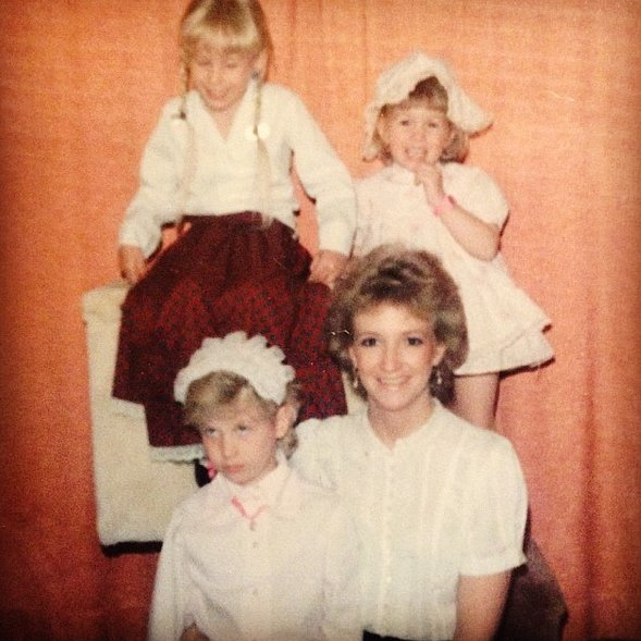 """""""#tbt to when I was NOT a fan of bing dressed up like Laura Ingalls Wilder. #posingbythecathouseagain"""""""