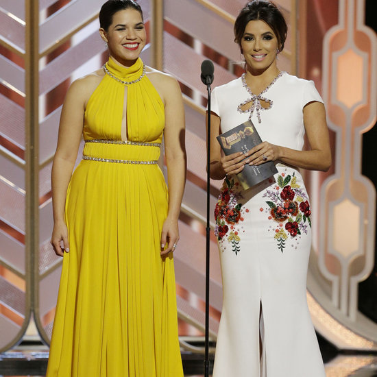 Eva Longoria and America Ferrera at the Golden Globes 2016