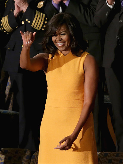 Michelle Obama Steals the Spotlight in a Marigold Narciso Rodriguez Dress at State of the Union Address