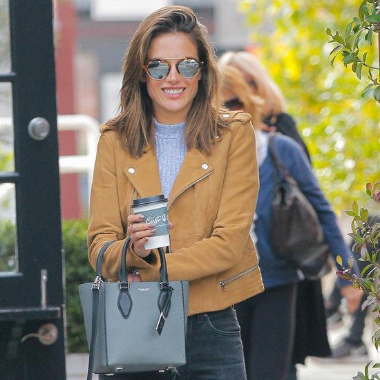 Alessandra Ambrosio Wears Flared Jeans January 2016