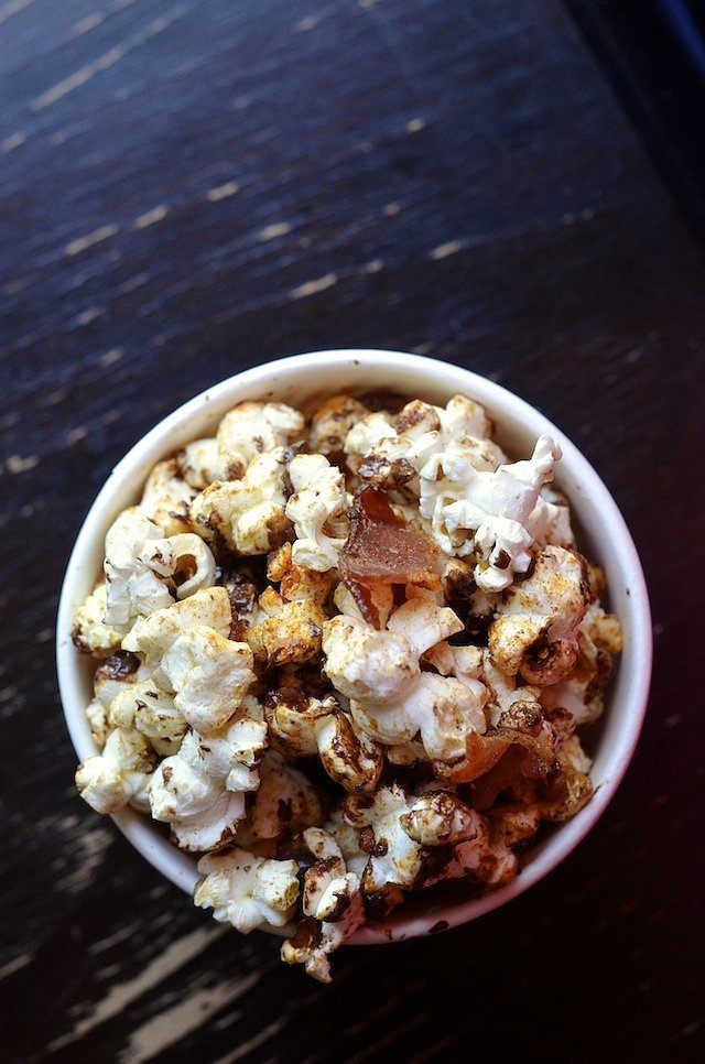 Pig Candy Popcorn With Bacon, Chocolate, and Spices