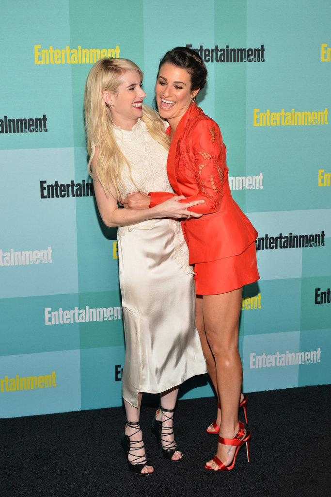 Scream Queens costars Emma Roberts and Lea Michele hugged it out at Comic-Con in July 2015.
