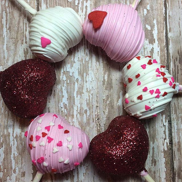 Gold Shimmer Heart Cake Pops