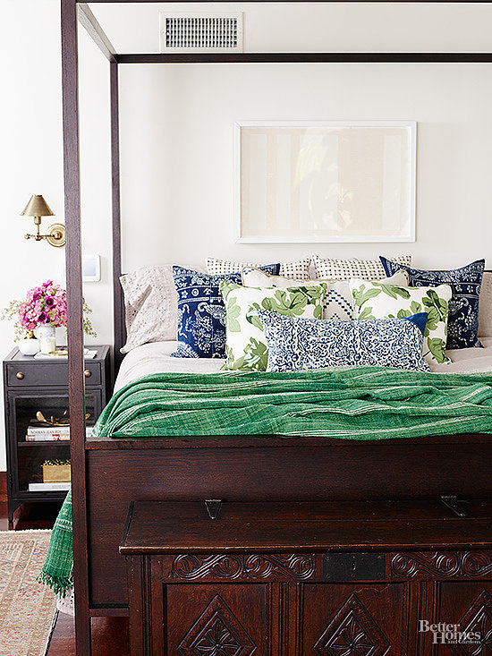 With Its Clean White Walls Dark Wood Furniture And
