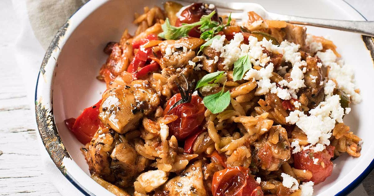 This 1-Pot Baked Greek Chicken Orzo Is a Perfect Weeknight Meal