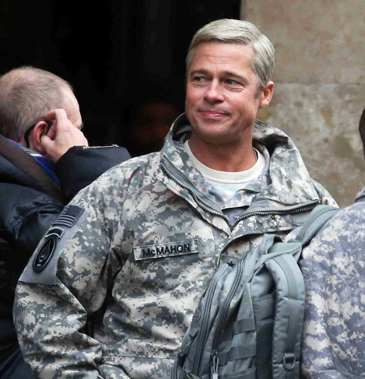 Brad Pitt in shorts on the set of War Machine in Paris