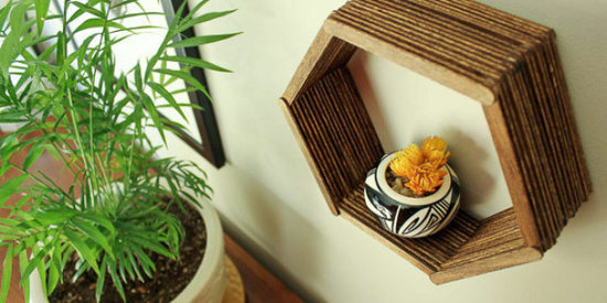 Make a DIY Hexagon Shelf With Popsicle Sticks