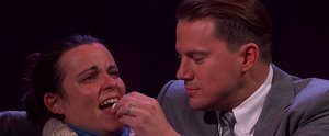 Channing Tatum Feeds Candy Hearts to a Random Woman For Valentine's Day