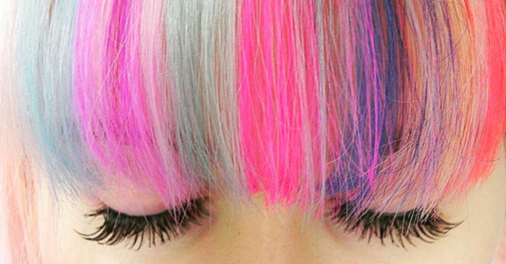 This Is the Coolest Way For Women With Bangs to Get In on the Rainbow Hair Trend