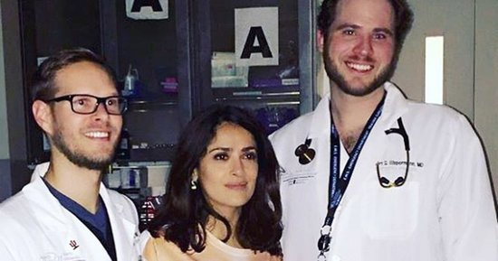 Salma Hayek Rushed to ER for Minor Head Injury, Leaves With LOL Shirt