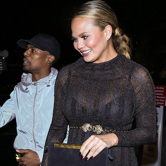 Chrissy Teigen Wearing Sheer Turtleneck Dress