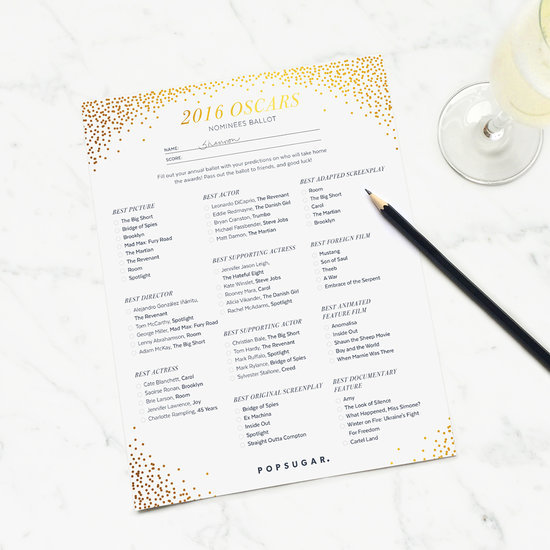This Is the Printable Oscar Ballot You Need For Your Viewing Parties