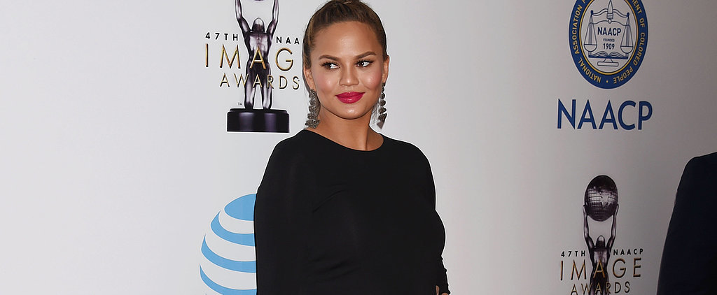 Chrissy Teigen Finds the Perfect Mix of Modest and Edgy Red Carpet Dressing