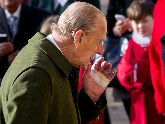 Prince Philip Attends Sunday Services with the Queen - and a Mysteriously Bandaged Hand