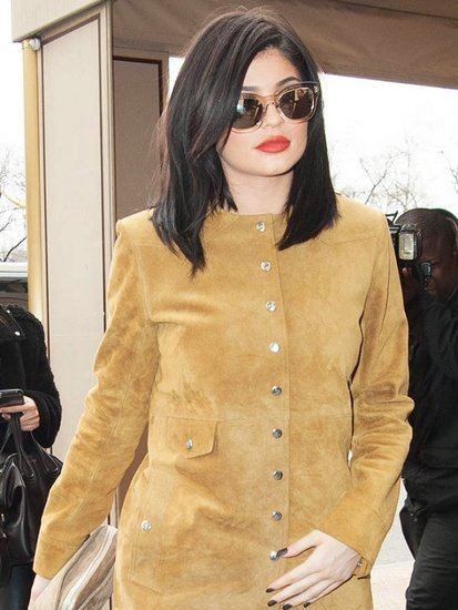Kylie Jenner Is Fashion Week-Ready in a Short Suede Dress