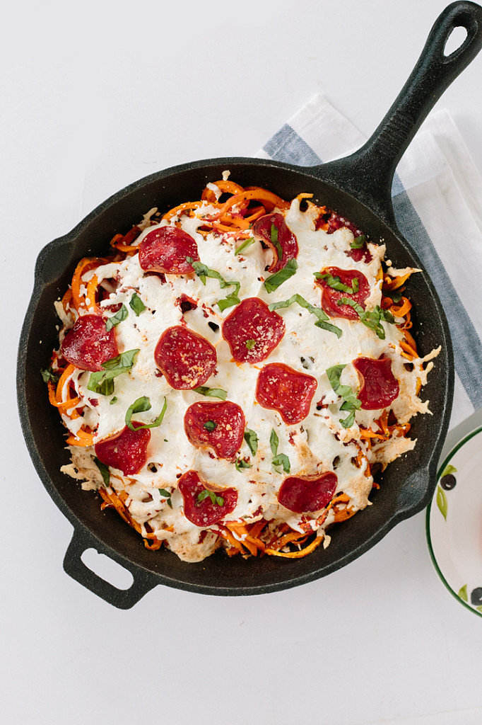 Spiralized Sweet Potato Pizza Bake with Turkey Bacon
