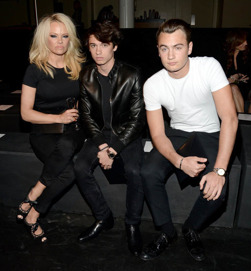 Pamela Anderson at Saint Laurent with sons Brandon and Dylan