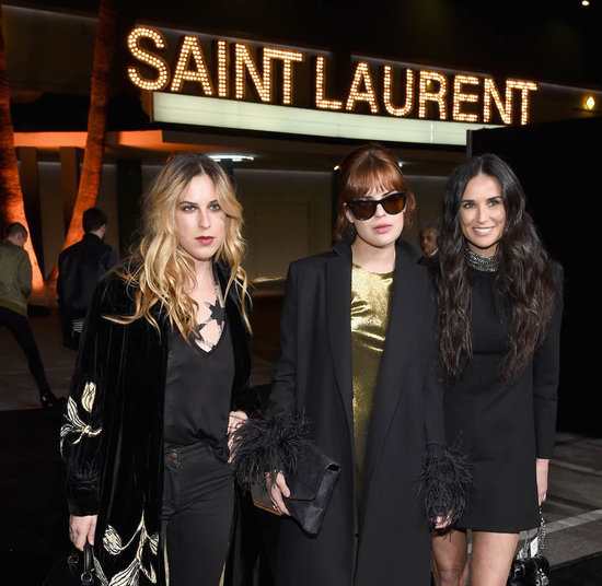 Demi Moore at Saint Laurent with daughters Scout and Tallulah