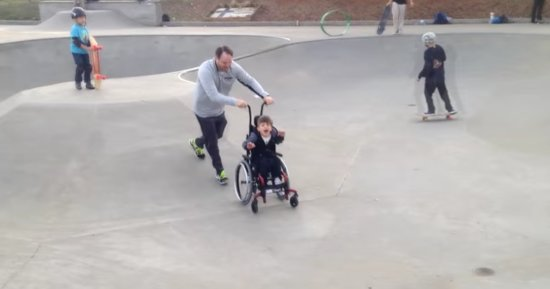 Wheelchair Turns Boy With Cerebral Palsy Into Skate Park Superstar