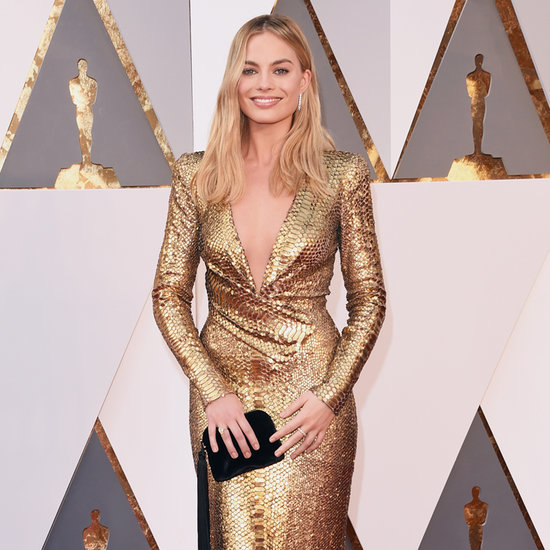 Margot Robbie Wearing Gold Tom Ford Dress Oscars 2016