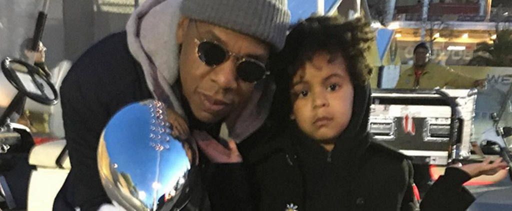 """Blue Ivy Does Her Best """"Can I Live?"""" Pose Next to Jay Z and a Super Bowl Trophy"""