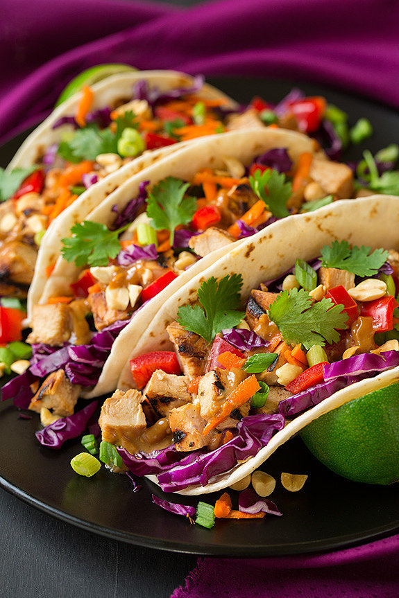 Thai Chicken Tacos Recipe — Dishmaps